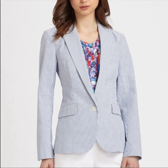 Theory Jackets Coats Womens Seersucker Blazer Poshmark